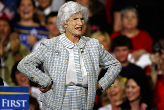 FILE - In this Oct. 16, 2008, file photo Roberta McCain, stands on stage during a rally in Downingtown, Pa. The mother of Arizona Sen. John McCain, Roberta McCain, has died. She was 108. A spokesperson for her daughter-in-law Cindy McCain says Roberta McCain died Monday, Oct. 12, 2020. A cause of death was not immediately released. Roberta McCain married into a storied military family, eloping with Navy ensign John McCain Jr., who eventually became a four-star admiral. (AP Photo/Carolyn Kaster, File)