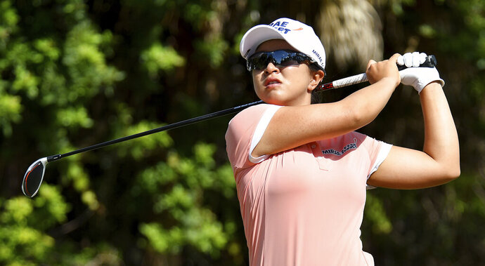 Sei Young Kim tees off on 7th hole during the 2019 CME Group Tour Golf Championship at the Tiburón Golf Club, Friday, Nov. 22, 2019 in Naples, Fla. (Chris Tilley/Naples Daily News via AP)