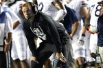 Virginia coach Bronco Mendenhall watches during the first half of the team's NCAA college football game against North Carolina in Chapel Hill, N.C., Saturday, Sept. 18, 2021. (AP Photo/Gerry Broome)