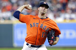 Houston Astros starting pitcher Jake Odorizzi throws to a New York Yankees batter during the first inning of a baseball game Friday, July 9, 2021, in Houston. (AP Photo/Michael Wyke)
