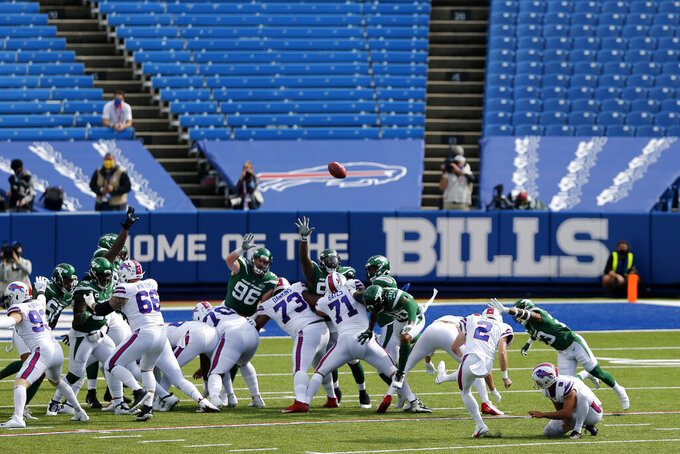 Buffalo Bills kicker Tyler Bass (2) kicks a field goal during the second half of an NFL football game against the New York Jets in Orchard Park, N.Y., Sunday, Sept. 13, 2020. (AP Photo/John Munson)