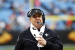 New Orleans Saints head coach Sean Payton walks the sidelines during the second half of an NFL football game against the Carolina Panthers in Charlotte, N.C., Sunday, Dec. 29, 2019. (AP Photo/Brian Blanco)