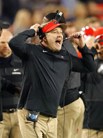 Georgia head coach Kirby Smart reacts on the sideline during the second half of an NCAA college football game against Massachusetts Saturday, Nov. 17, 2018, in Athens, Ga. Georgia won 66-27. (AP Photo/John Bazemore)