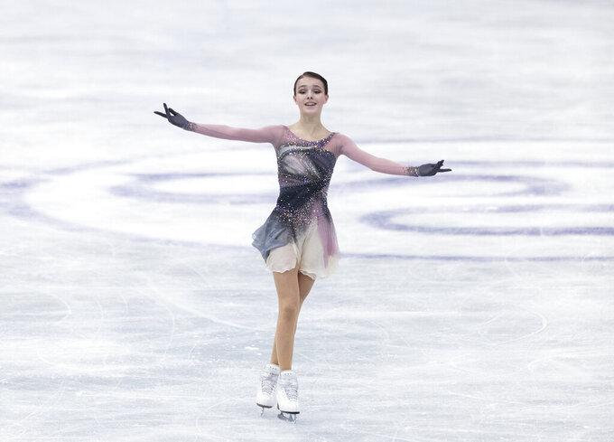 Russia's Anna Shcherbakova performs during the women's free skating program of the ISU World Team Trophy figure skating competition in Osaka, western Japan, Saturday, April 17, 2021. (AP Photo/Hiro Komae)