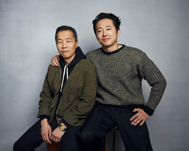 Director Lee Isaac Chung, left, and Steven Yeun pose for a portrait to promote the film
