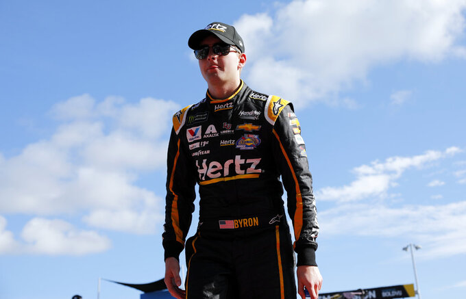 William Byron is introduced before the NASCAR Cup Series Championship auto race at the Homestead-Miami Speedway, Sunday, Nov. 18, 2018, in Homestead, Fla. (AP Photo/Terry Renna)