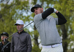 Brooks Koepka tees off the 18th hole during a practice round for the PGA Championship golf tournament, Wednesday, May 15, 2019, at Bethpage Black in Farmingdale, N.Y. (AP Photo/Andres Kudacki)