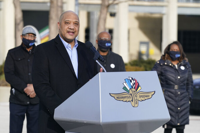 Rep. Andre Carson, D-Ind., speaks after receiving his Johnson & Johnson COVID-19  vaccine during the state's first mass vaccination clinic at the Indianapolis Motor Speedway, Friday, March 5, 2021, in Indianapolis. The state health department said nearly 17,000 people had filled up four days of appointments for the speedway clinic being held Friday through Monday. (AP Photo/Darron Cummings)