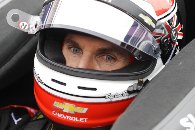 Will Power, of Australia, sits in his car during a practice session for the Indy GP IndyCar auto race at Indianapolis Motor Speedway, Friday, May 10, 2019 in Indianapolis. (AP Photo/Darron Cummings)