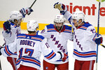 New York Rangers' Colin Blackwell (43) celebrates after scoring during the first period of an NHL hockey game against the Pittsburgh Penguins in Pittsburgh, Sunday, Jan. 24, 2021. (AP Photo/Gene J. Puskar)