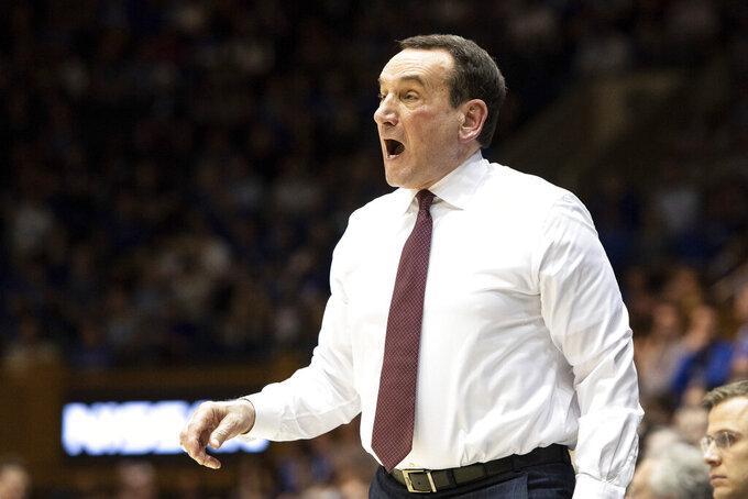Duke head coach Mike Krzyzewski directs his team during the first half of an NCAA college basketball game against Brown in Durham, N.C., Saturday, Dec. 28, 2019. (AP Photo/Ben McKeown)