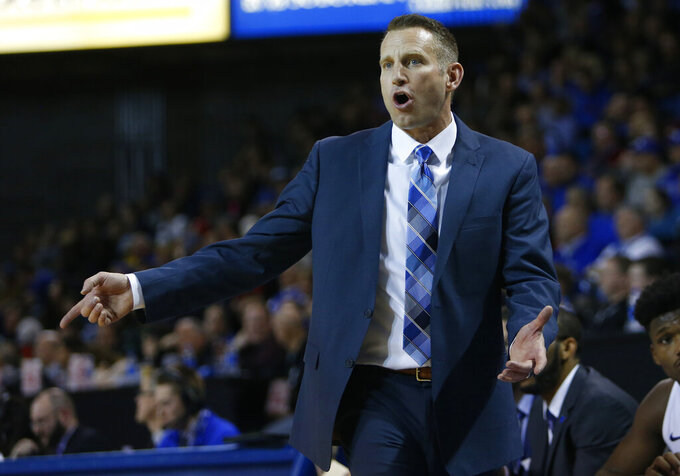 Buffalo head coach Nate Oats reacts during the second half of an NCAA college basketball game against Eastern Michigan, Friday, Jan. 18, 2019, in Buffalo N.Y. (AP Photo/Jeffrey T. Barnes)