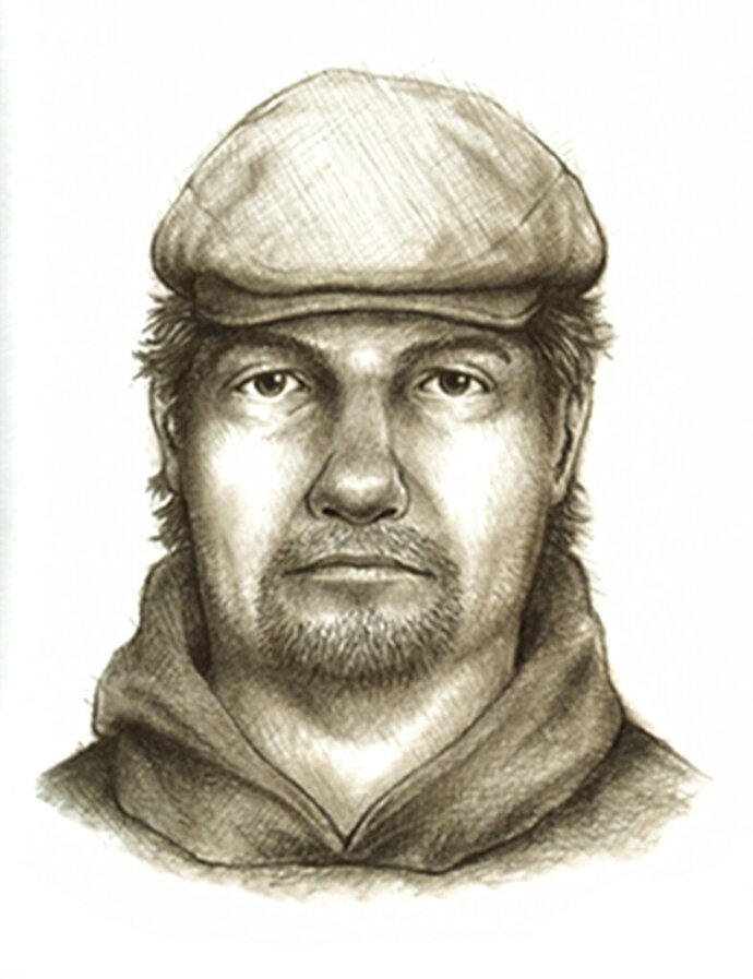FILE - This composite sketch released Monday, July 17, 2017, by the Indiana State Police shows a man they consider the main suspect in the killings of two teenage girls who disappeared from a hiking trail near their hometown of Delphi in northern Indiana on Feb., 13. Indiana authorities are repeating their call for the public to keep passing on tips in the slayings of two teenage girls killed during a hiking trip, saying the next tip could help solve the crime. Carroll County Prosecutor Nicholas McLeland said Wednesday urged the public to keep passing on tips. (Indiana State Police via AP, File)