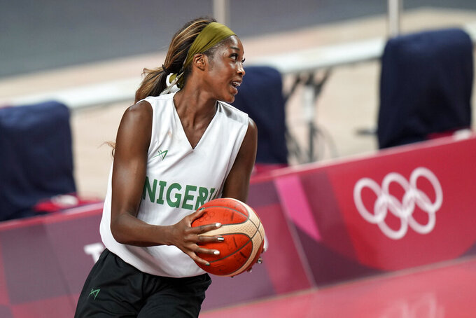 Nigeria forward Victoria Macaulay takes part in a women's basketball practice at the 2020 Summer Olympics, Saturday, July 24, 2021, in Saitama, Japan. (AP Photo/Eric Gay)