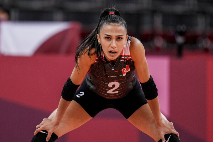 Turkey's Simge Sebnem Akoz looks on during the women's volleyball preliminary round pool B match between China and Turkey at the 2020 Summer Olympics, Sunday, July 25, 2021, in Tokyo, Japan. (AP Photo/Manu Fernandez)