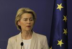 Ursula von der Leyen, President-elect of the European Commission speaks in Council of Ministers headquarter in Sofia, Bulgaria, Thursday, Aug. 29, 2019.  The visit is part of the consultations with EU Member States leaders before the full membership of the new European Commission is presented. (AP Photo/Valentina Petrova)