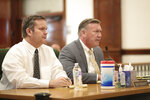 Chad Daybell, left, sits with his defense attorney John Prior during his preliminary hearing in St. Anthony, Idaho, on Tuesday, August 4, 2020. A preliminary hearing continues to decide whether there is enough evidence to hold Daybell for trial. He and the children's mother face charges related to the hiding of the remains of 17-year-old Tylee Ryan and 7-year-old Joshua