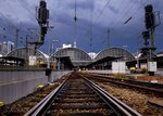 Empty rails are seen outside the main train station In Frankfurt, Germany, Thursday, Aug. 9, 2018. Due to rain falls and thunderstorms trains were cancelled or delayed. (AP Photo/Michael Probst)