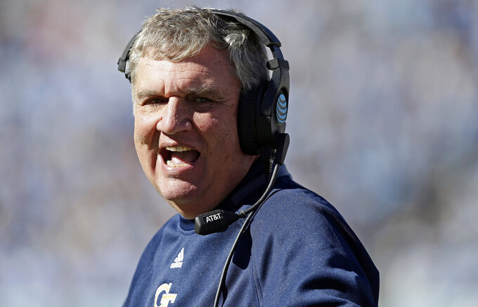 Georgia Tech head coach Paul Johnson yells during the first half of an NCAA college football game against North Carolina in Chapel Hill, N.C., Saturday, Nov. 3, 2018. (AP Photo/Gerry Broome)