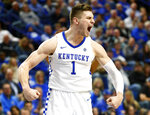 Kentucky's Nate Sestina reacts after scoring during the second half of an NCAA college basketball game against Mount St. Marys in Lexington, Ky., Friday, Nov. 22, 2019. Kentucky won 82-62. (AP Photo/James Crisp)