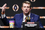 Clemson head coach Dabo Swinney speaks during a news conference for the NCAA College Football Playoff national championship game Sunday, Jan. 12, 2020, in New Orleans. Clemson is scheduled to play LSU on Monday. (AP Photo/David J. Phillip)
