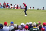 Team USA's Dustin Johnson misses a putt on the second hole during a Ryder Cup singles match at the Whistling Straits Golf Course Sunday, Sept. 26, 2021, in Sheboygan, Wis. (AP Photo/Jeff Roberson)