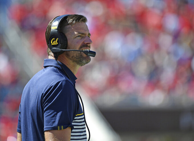 California head coach Justin Wilcox watches on during the first half of an NCAA college football game against Mississippi in Oxford, Miss., Saturday, Sept. 21, 2019. (AP Photo/Thomas Graning)