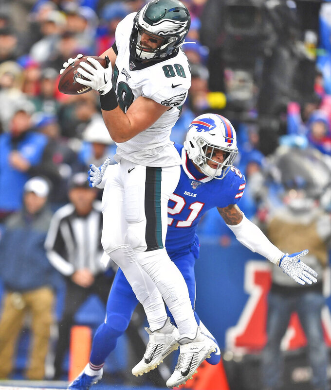 Philadelphia Eagles' Dallas Goedert, left, catches a pass in front of Buffalo Bills' Jordan Poyer during the first half of an NFL football game, Sunday, Oct. 27, 2019, in Orchard Park, N.Y. (AP Photo/Adrian Kraus)
