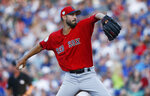Boston Red Sox pitcher Rick Porcello throws during the first inning of the team's spring training baseball game against the Chicago Cubs on Monday, March 25, 2019, in Mesa, Ariz. (AP Photo/Sue Ogrocki)