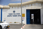 The entrance to the Gilboa prison in northern Israel, Monday, Sept. 6, 2021. Israeli forces on Monday launched a massive manhunt in northern Israel and the occupied West Bank after several Palestinian prisoners escaped overnight from the high-security facility in an extremely rare breakout. (AP Photo/Sebastian Scheiner)