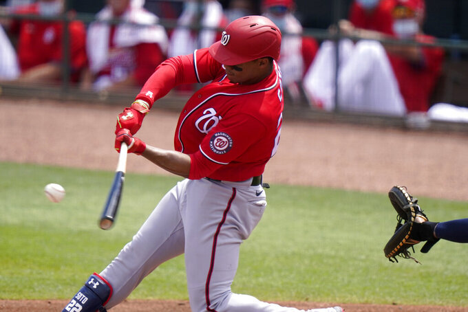 Washington Nationals' Juan Soto grounds out to second during the third inning of a spring training baseball game against the St. Louis Cardinals, Monday, March 15, 2021, in Jupiter, Fla. (AP Photo/Lynne Sladky)