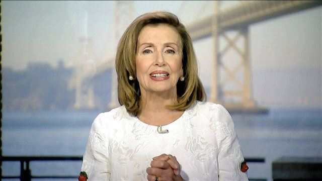 In this image from video, House Speaker Nancy Pelosi of Calif., speaks during the third night of the Democratic National Convention on Wednesday, Aug. 19, 2020. (Democratic National Convention via AP)