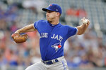 Toronto Blue Jays starting pitcher Thomas Pannone throws a pitch to a Baltimore Orioles batter during the second inning of a baseball game, Saturday, Aug. 3, 2019, in Baltimore. (AP Photo/Julio Cortez)