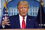 President Donald Trump speaks during a news conference at the White House, Wednesday, Sept. 16, 2020, in Washington. Democrat Joe Biden has left little doubt that if elected he would try to scale back President Donald Trump's buildup in nuclear weapons spending. And although he has not fully detailed his nuclear policy priorities, Biden says he would push for less reliance on the world's deadliest weapons. (AP Photo/Evan Vucci)