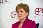 Scotland's First Minister Nicola Sturgeon speaks during an event 'Scotland's European Future after Brexit' at the European Policy Center in Brussels, Monday, Feb. 10, 2020. (AP Photo/Virginia Mayo, Pool)