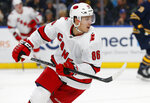 Carolina Hurricanes forward Teuvo Teravainen (86) skates during the second period of an NHL hockey game against the Buffalo Sabres, Thursday, Nov. 14, 2019, in Buffalo N.Y. (AP Photo/Jeffrey T. Barnes)