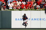 Atlanta Braves' Ronald Acuna Jr. (13) catches a ball hit by St. Louis Cardinals' Dexter Fowler during the fifth inning in Game 4 of a baseball National League Division Series, Monday, Oct. 7, 2019, in St. Louis. (AP Photo/Charlie Riedel)