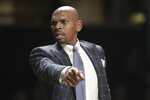 FILE — In this Feb. 5, 2020, file photo, Vanderbilt coach Jerry Stackhouse directs his players during an NCAA college basketball game against LSU in Nashville, Tenn. Stackhouse knows he has a fuller roster going into his second season. He also believes he and his assistants are better prepared as well. (AP Photo/Mark Humphrey, file)