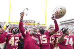 Florida State interim head coach Odell Haggins celebrates his team's 49-12 victory over Alabama State in an NCAA college football game in Tallahassee, Fla., Saturday, Nov. 16, 2019. (AP Photo/Mark Wallheiser)
