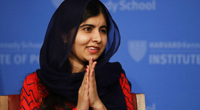 2014 Nobel Laureate Malala Yousafzai listens to a question from the audience following an address at the Kennedy School's Institute of Politics at Harvard University in Cambridge, Mass., Thursday, Dec. 6, 2018. (AP Photo/Charles Krupa)