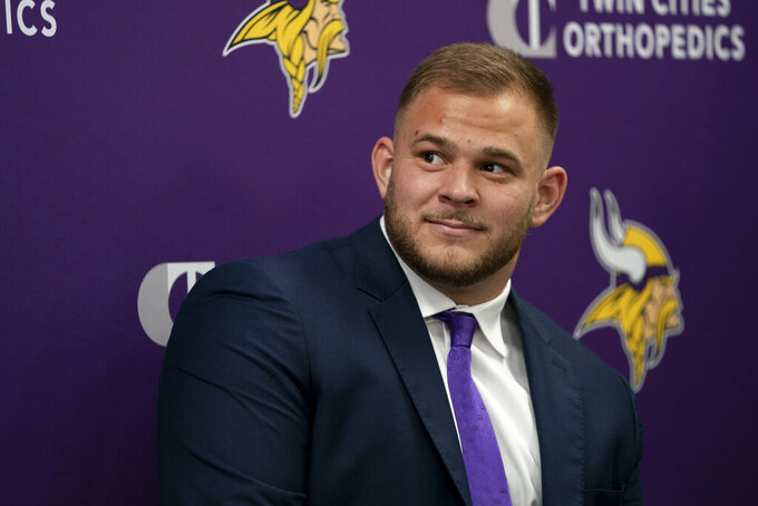Minnesota Vikings first-round draft pick Garrett Bradbury attends an NFL football news conference in Eagan, Minn., Friday, April 26, 2019. (Renee Jones Schneider/Star Tribune via AP)