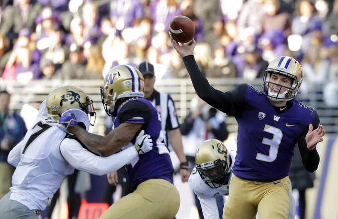 Washington quarterback Jake Browning (3) passes against Colorado during the second half of an NCAA college football game, Saturday, Oct. 20, 2018, in Seattle. Washington won 27-13. (AP Photo/Ted S. Warren)