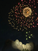 Fireworks light the sky over the Mount Rushmore National Monument Friday, July 3, 2020, in Keystone, S.D., after President Donald Trump spoke. (AP Photo/Alex Brandon)