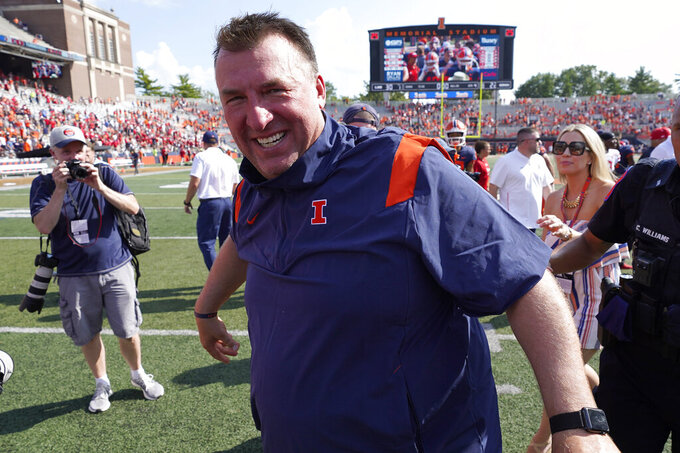 Illinois head coach Bret Bielema celebrates the team's 30-22 win over Nebraska after an NCAA college football game Saturday, Aug. 28, 2021, in Champaign, Ill. (AP Photo/Charles Rex Arbogast)