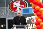 FILE - In this Oct. 21, 2018, file photo, Former San Francisco 49ers quarterback Joe Montana speaks at a ceremony commemorating