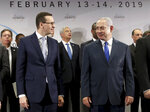 File -- In this Thursday, Feb. 14, 2019 photo Poland's Prime Minister Mateusz Morawiecki, left, and Israeli Prime Minister Benjamin Netanyahu, right, attend a group photo during a meeting in Warsaw, Poland. Poland's prime minister canceled plans for his country to send a delegation to meeting in Jerusalem on Monday after the acting Israeli foreign minister Israel Katz said that Poles