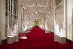 The East Colonnade is decorated with a timeline of American design, innovation and architecture during the 2019 Christmas preview at the White House, Monday, Dec. 2, 2019, in Washington. This year's theme is,
