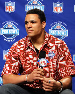 FILE - In this Feb. 1, 2006, file photo, Kansas City Chiefs NFL football player Tony Gonzalez takes questions during a press conference to promote the Pro Bowl during Super Bowl festivities in Detroit. Gonzalez will be inducted into the Pro Football Hall of Fame in Canton, Ohio on Aug. 3, 2019. (AP Photo/Michael Conroy, File)