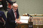 In this photo provided by the UK Parliament, Britain's Labour leader Jeremy Corbyn talks during the debate on the Early Parliamentary General Election Bill in the House of Commons, London, Tuesday, Oct. 29, 2019.  After months of stalemate in Parliament, Britain appeared on course Tuesday for an early general election that could break the country's political deadlock over Brexit. Opposition lawmakers backed in principle the government's request to send voters to the polls in December —though Prime Minister Boris Johnson still faced a tussle over the exact date. (UK Parliament/Jessica Taylor via AP)