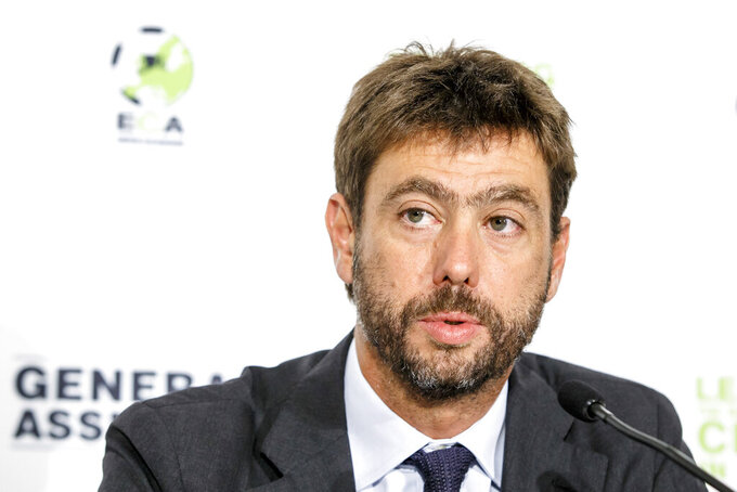 FILE - In this Tuesday, Sept. 5, 2017 filer, the chairman of the European Club Association, ECA, Italy's Andrea Agnelli attends a news conference after the plenary general assembly of the European Club Association, ECA, in Geneva, Switzerland. If the stylish and swashbuckling soccer romantic Giovanni Agnelli represented the epitome of club presidents a few generations ago, his nephew Andrea Agnelli's affinity for the cut-throat business side of the sport falls more in line with the American and foreign owners who are gobbling up the European game. (Salvatore Di Nolfi/Keystone via AP, File)